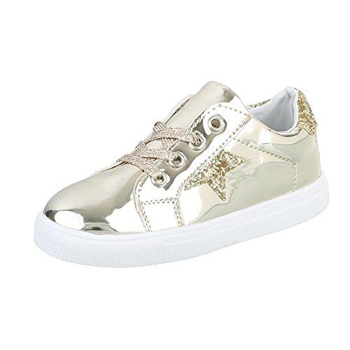 Freizeit Turnschuhe/Sneakers Kinderschuhe Low-Top Mädchen Schnürsenkel Ital-Design Freizeitschuhe Gold ABO-17