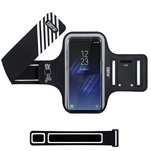 EOTW Brassard Sport pour Samsung Galaxy S8 Plus, Brassard téléphone avec espace pour cartes, clés, argent & écouteurs, Bon Maintien pour de Course, Jogging, Vélo, Pêche (Noir, 6.2')