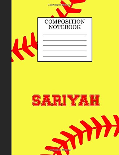 Sariyah Composition Notebook: Softball Composition Notebook Wide Ruled Paper for Girls Teens Journal for School Supplies | 110 pages 7.44x9.269 di Sarah Blast