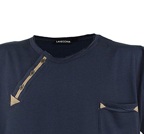 Lavecchia Kurzarm Herren T-Shirt in Übergröße mit Cooler Applikation von 3XL bis 8XL Anthrazit