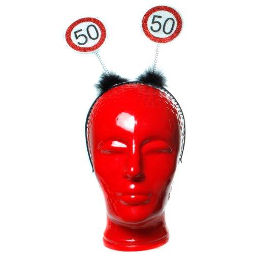 Haarreif mit 2 Verkehrsschildern 50 auf Wackelfühlern