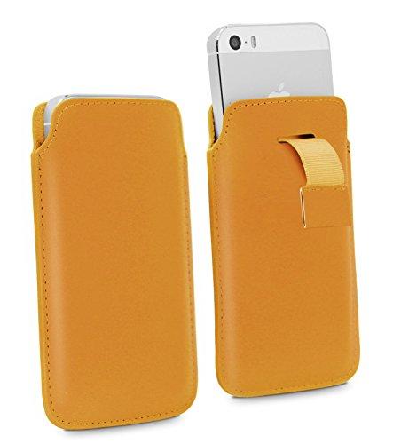 Lolo Company Inc. Nokia 215 Pull Tab - Hohe Qualität PU Leder Strap Zieh Band Pull Tab Slip Beutel Hülle Abdeckung Cover Tasche (Orange) von LOLO®