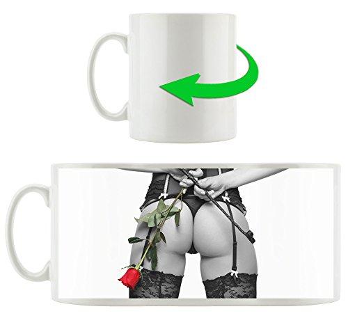 Dessous mit Rose, Motivtasse aus weißem Keramik 300ml, Tolle Geschenkidee zu jedem Anlass. Ihr neuer Lieblingsbecher für Kaffe, Tee und Heißgetränke. (Bikini Pause)