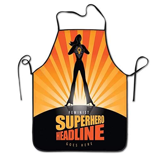 qidushop Küchenschürze für Frauen, Superhelden-Frau, Tränen öffnen Sie Ihr zu enthüllen, Symbol weibliche Burst Muster, BBQ Kochschürze für Herren