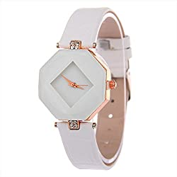 Contever® Women Fashion Rhombus Case Analog Quartz Watch with Rhinestone Decorative PU Leather Band Wrist Watch -- White