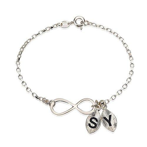 er Infinity - Unendlich Armband - mit Initialen Personalisiert mit Ihrem eigenen Initialen (16.5 CM) ()