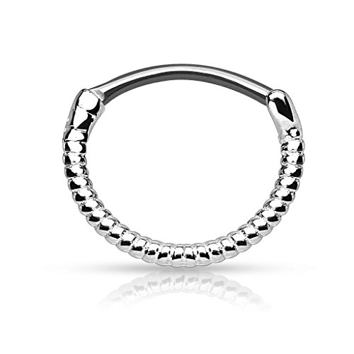 Piercingfaktor Universal Piercing Septum auch für Tragus Helix Ohr Nase Lippe Brust Intim - Schild Clicker Ring Seemann Seil Silber