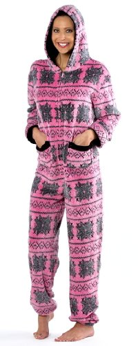 Primark Essentials Pyjama combinaison à capuche pour femme Maille épaisse Motif flocons de neige Rose/gris ou blanc/gris-Taille - 10 à 20 - Pink-Grey