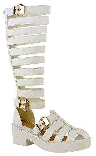 Mesdames Femmes Genou Coupe haute à bretelles gladiateur Sandales d'été Chaussures Bottes Taille Or - White Faux Leather Chunky Gold Buckles