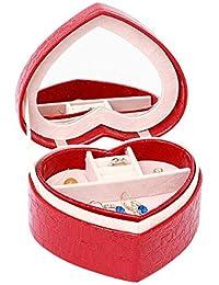 HOQTUM Collar de caja de joyería Anillo Aretes Caja de almacenamiento Caja de joyería portátil de