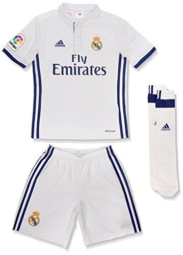 adidas Kinder Real Madrid Mini-Heimausrüstung Fußballdress, Crystal White/Gold Met, 128