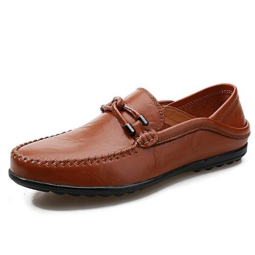 Cvbndfe-Men's Casual Shoes Herren Bequeme Schuhe OX Leder Boot Mokassins Schlupfstil Metall Dekoration Low Top Driving Loafer für Herren atmungsaktiv bequem, Rindsleder, rotbraun, UK 6 / EU 38,5 -