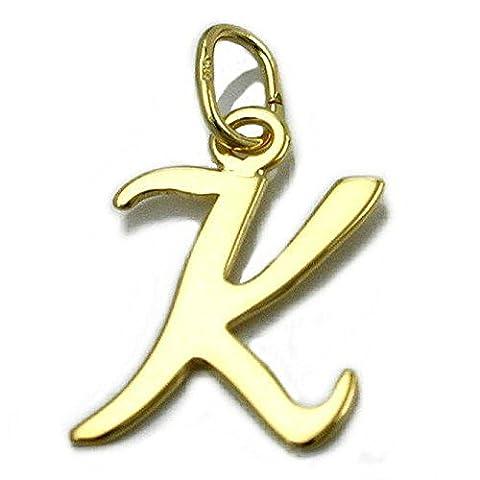 Unbespielt Goldanhänger Unisex Kettenanhänger Anhänger für Halskette Damen und Herren Buchstabe K aus 8 kt 333 8 kt Gelbgold 14 x 9 mm inkl. Schmuckbox inkl. kleiner