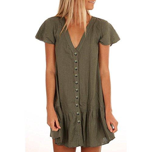 schnitt Flare Ärmel Kleid Button Sommerkleid Maxi Boho Casual Mini Dress Damen Tunika Tshirt Kleid Bluse Kurzarm MiniKleid Boho Maxikleid Rundhals ()
