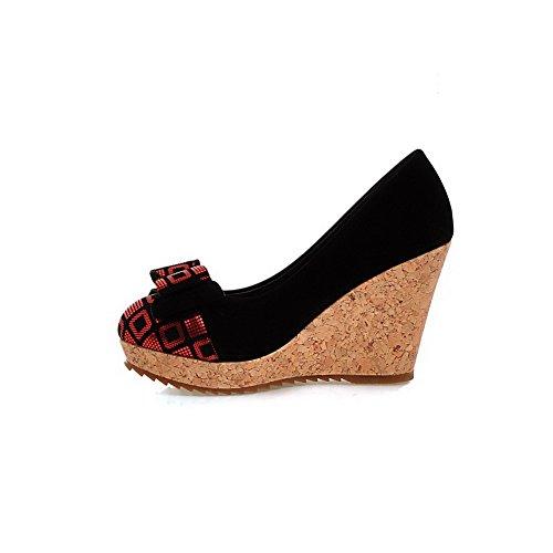 VogueZone009 Femme Tire Rond à Talon Haut Suédé Couleurs Mélangées Chaussures Légeres Rouge