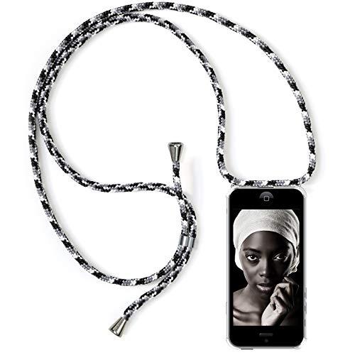 ZhinkArts Handykette kompatibel mit Apple iPhone 5 / 5S / SE - Smartphone Necklace Hülle mit Band - Schnur mit Case zum umhängen in Schwarz Camouflage -