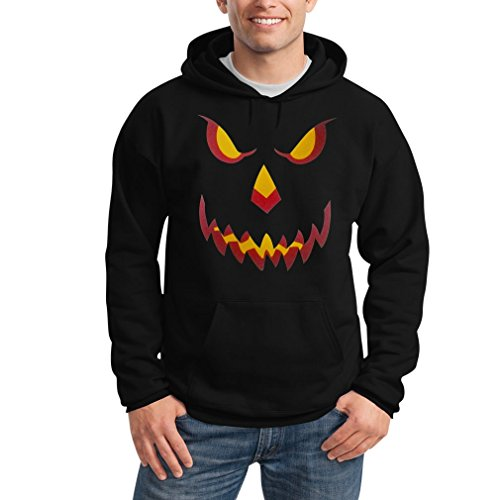 Halloween Kürbis Kopf Smile Gruselig Cooles Motiv Outfit Kapuzenpullover Hoodie X-Large Schwarz (Kürbis-kopf T-shirt)