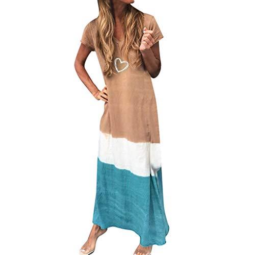 Estivi Donna Taglie Forti Estate Vestiti Casual Eleganti Corti Manica Corta Scollo V Cotone E Lino T-Shirt Patchwork Vestiti Vestito da Spiaggia Maxi Abito Bohemia Dress