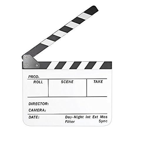 CAM-ULATA Regieklappe Filmklappe 10 x 12 Inch / 25 x 30 cm Acryl Regisseurboard Szenenklappe Clapperboard Clapboard für TV Film Movie Kinoproduktionen Homevideo Kino Filmfans, Weiß Brett mit Weiß/Schwarz (Tv Set Kostüm)
