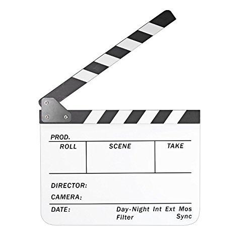 CAM-ULATA Regieklappe Filmklappe 10 x 12 Inch / 25 x 30 cm Acryl Regisseurboard Szenenklappe Clapperboard Clapboard für TV Film Movie Kinoproduktionen Homevideo Kino Filmfans, Weiß Brett mit Weiß/Schwarz Sticks