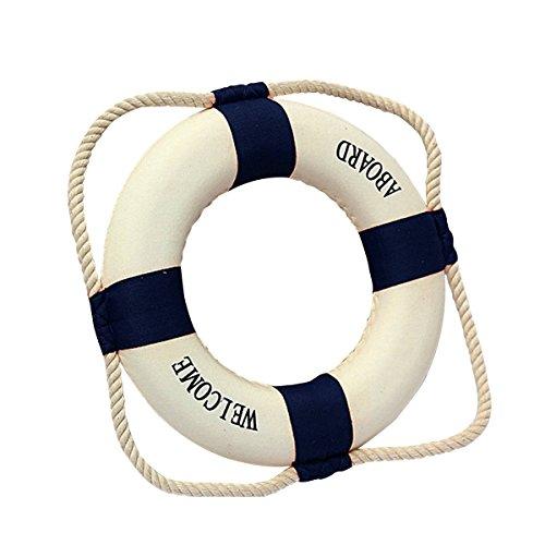 Rettungsring - TOOGOO(R) Willkommen an Bord Schaum Wasser Leben Rettungsring Ring Boot Wandbehang Hauptdekoration blau 50cm
