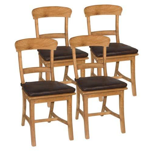casamia Esszimmer Stühle Set Tanja 4 Stück mit Holzsitzfläche Teakholz gebürstet unbehandelt Kissen mit Sitzkissen braun