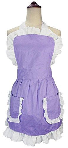 lilments Damen Rüsche Outline Retro Schürze Küche Kuchen Backen Kochen Cleaning Maid Kostüm Mit Taschen violett