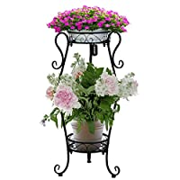 AISHN Metal Plant Stand 2-Tiered Potted,Supports Floor Flower Pot Round Rack Display,Perfect for Home, Garden, Patio, Outdoor Indoor