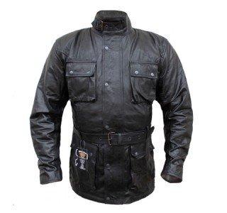 Veste Moto noire et vintage en Cuir Ciré pour Femme