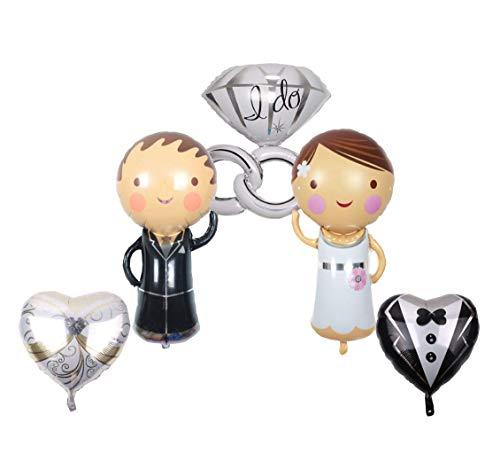 RepairMedia-Shop ★ XXL Folienballon Hochzeit Wedding Party Brautpaar Mann Frau Paar Ehe Ring Luftballon Set Herz Liebe Antrag P100 ★