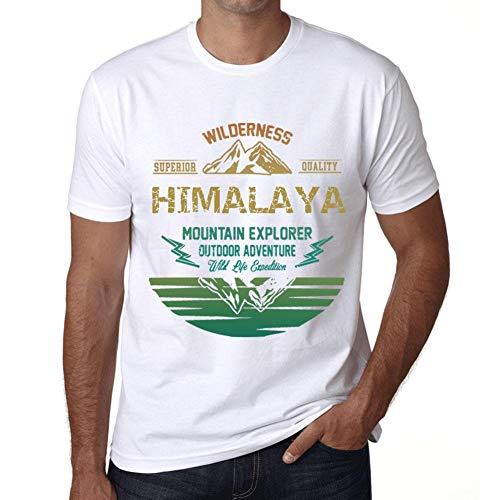 060f957e7b53ce Hombre Camiseta Vintage T-Shirt Gráfico Himalaya Mountain Explorer Blanco