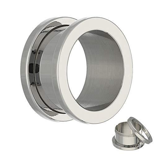 Treuheld Flesh Tunnel - Stahl - Silber 26 mm (Chirurgischer Stahl Ohrringe Set)