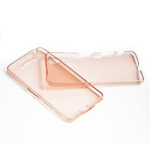 Vandot Sony Xperia M5 Coque de Protection Etui Transparent Antidérapant Pour Sony Xperia M5 Etui Protection Dorsale Étui Slim Invisible Housse Cover Case en TPU Gel Silicone Hull Shell-Blanc Transparent-Rose Or