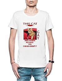 0dcd11c5b This Cat Is Gay Hombre Camiseta Blanco Todos Los Tamaños - Men s T-Shirt  White