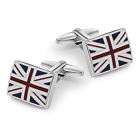 UK Flag Manschettenknöpfe, Mr.Van Herren Union Jack Großbritannien British Flag Manschettenknöpfe aus mit Silber-Beschichtung