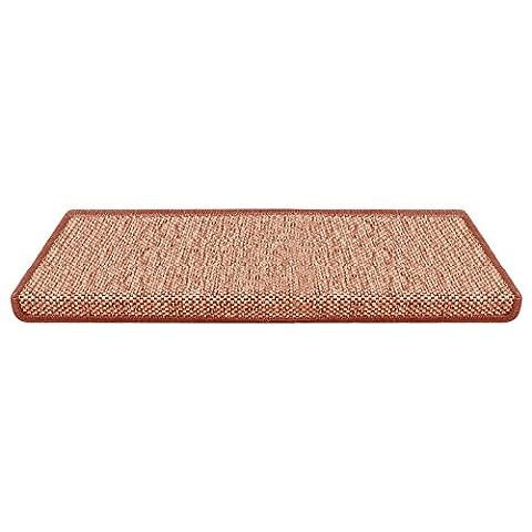 casa pura® Sabang 15x Flatweave Sisal Effect Carpet Stair Tread Mats, Terracotta - 65x23.5cm (Rectangle, 15