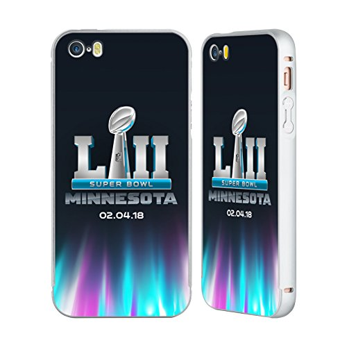 Ufficiale NFL Testo Minnesota 2 2018 Super Bowl LII Argento Cover Contorno con Bumper in Alluminio per Apple iPhone 6 Plus / 6s Plus Lo Splendore Delle Luci Del Nord