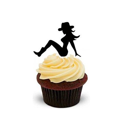 SEXY COWGIRL SILHOUETTE - 12 essbare hochwertige stehende Kuchen Toppers - SEXY COWGIRL SILHOUETTE - Party Supplies Cowgirls