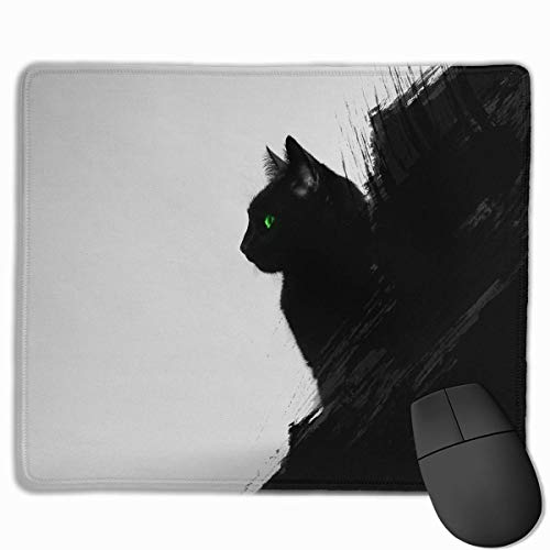 Mouse Pad Rectangle Rubber Non-Slip Mousepad Black Cat Print Gaming Mouse Pad