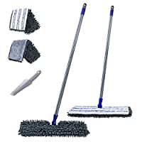 """Mastertop 2 in 1 Two-Sided 16.8"""" Chenille Microfiber Mop with Long Handle Magic Mop with 2 Free Replaceable Mop Head and Cleaning Scraper"""