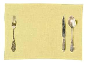 Daycollection COUVLISA63 Couverts Set de Table Linen Jaune Moutarde 30 x 40 x 0,2 cm