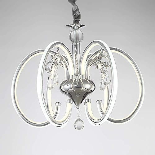 Oevina Modern Moderne große Kristall Regentropfen Kronleuchter, Nordic Deckenpendelleuchte Indoor hängende Lampe Chrom-Finish für Esszimmer Wohnzimmer Hall-8-Lights stufenlose Dimmung -