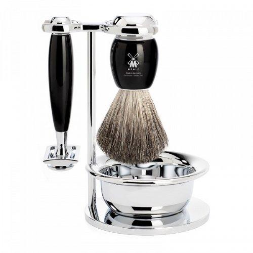뮐레 클래식 면도기 세트 MÜHLE - S81 M 336 SSR Vivo Shaving Set Pure Badger Hair, 4-Piece - Safety Razor - Black