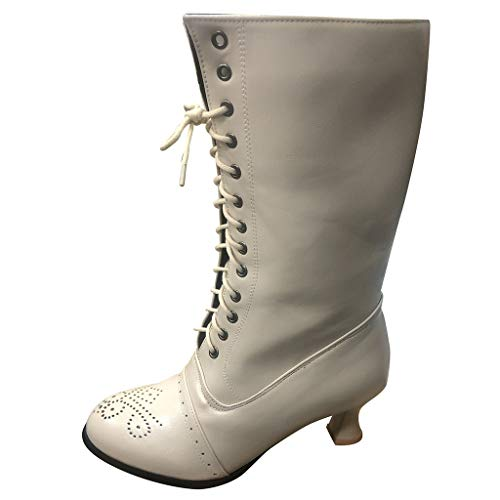 piabigka Ladies Lace Up Boots Calf Length Boots Women Leather Louis Heel Ankle Boots Punk Womens Combat Boots Steampunk Gothic Vintage