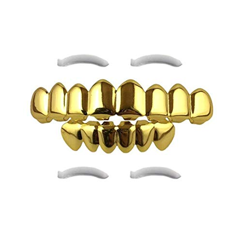 Rose Kostüm Vampirin - Hip Hop Zähne Grillz Set, Hip Hop Custom Fit Rose Vampir 8 Hohl Offenes Gesicht Gold Mund GRILLZ Caps Top & Bottom Grill Set