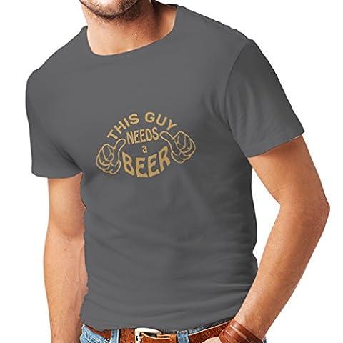 T-shirt pour hommes Ce mec a besoin d'une bière - cadeaux pour les amateurs de bière (Medium Graphite