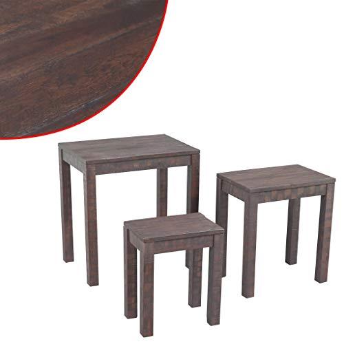 vidaXL Tables gigognes 3 pièces en Bois d'acacia Massif fumée Look