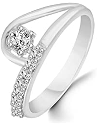 Classic Semi Curl Solitaire Diamond Studded Rhodium Plated Alloy Cz American Diamond Finger Ring For Women & Girls...