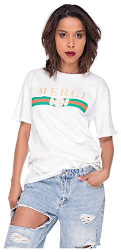 Loomiloo Oversize Shirt Logoprint Damen T-Shirt Top Oberteil Tshirt Oversized Mercy M/L Mercy Weiß