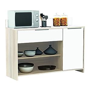 habeig AKAZIE-Weiss Küchenschrank #228 Schrank Küchenregal Küchenmöbel Singleküche Holz